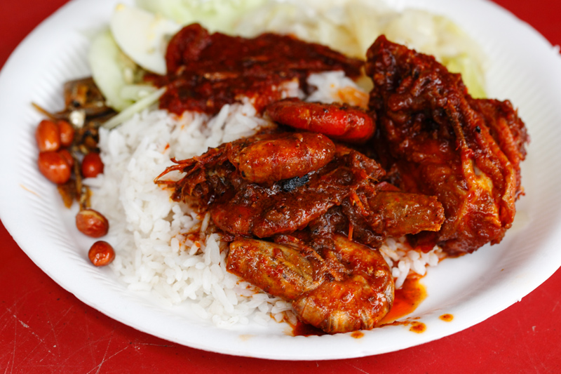 Chinese nasi lemak Ayam Merah with Prawns