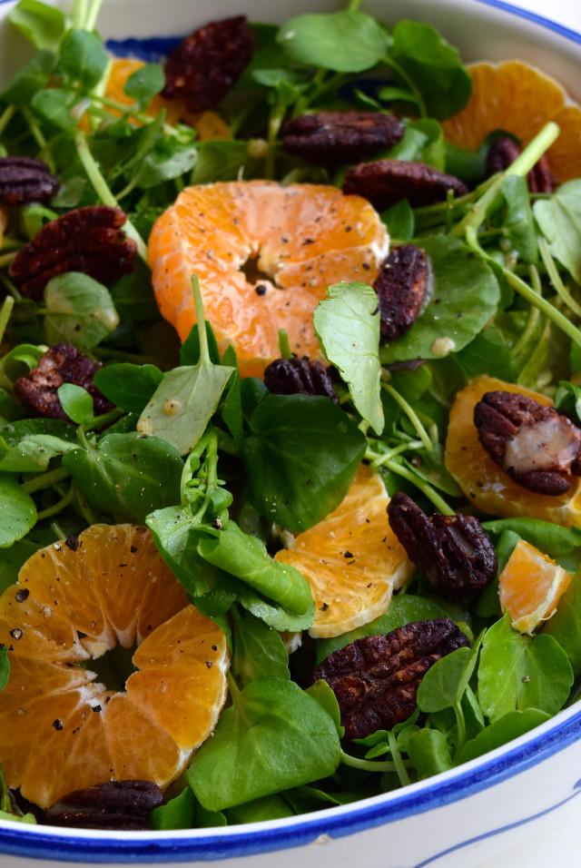 Watercress, Clementine & Festive Spiced Pecan Salad | www.rachelphipps.com @rachelphipps