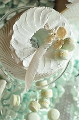 aqua inspiration - macarons and angel food cake