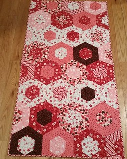 Valentines table runner completed from scraps.