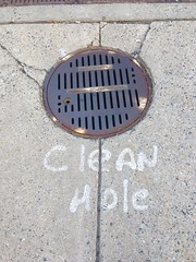 Clean Hole: note on PEPCO manhole, 22nd Street NW, Washington, D.C.