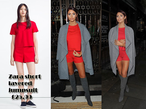 Red short layered jumpsuit with grey waterfall coat: Playsuit trend