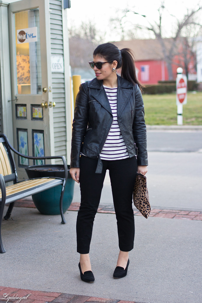 striped tee, black leather jacket, leopard clutch-2.jpg