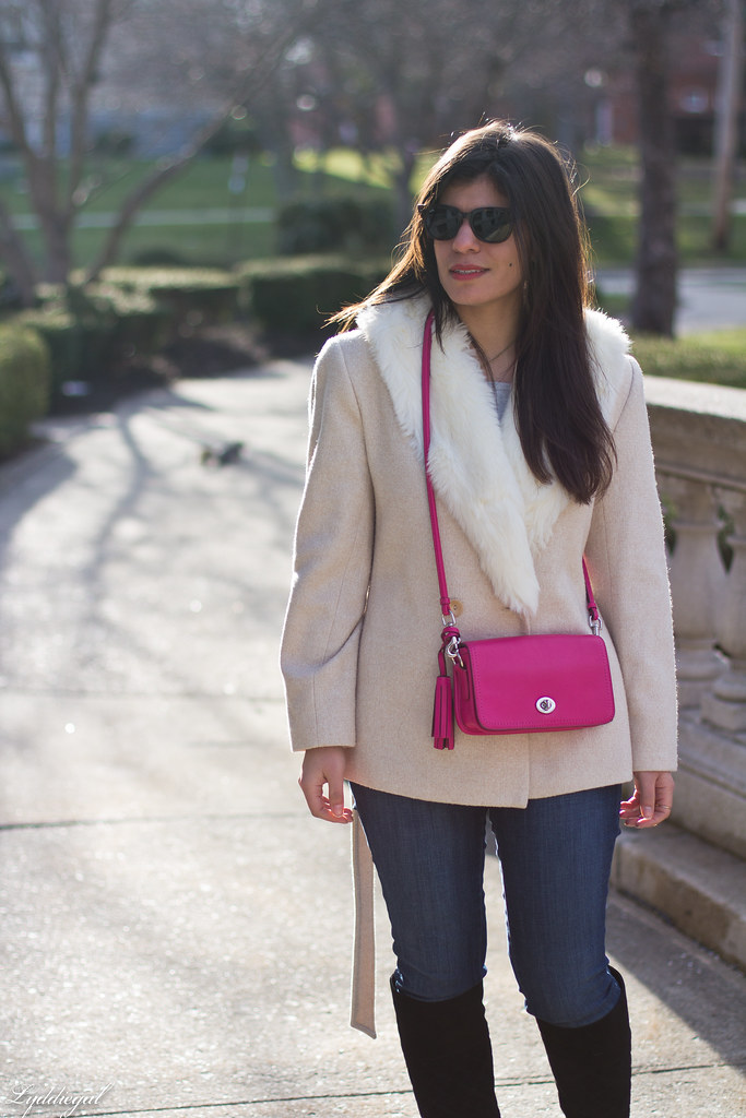 grey sweater, cream fur collar coat, black boots, pink bag-4.jpg