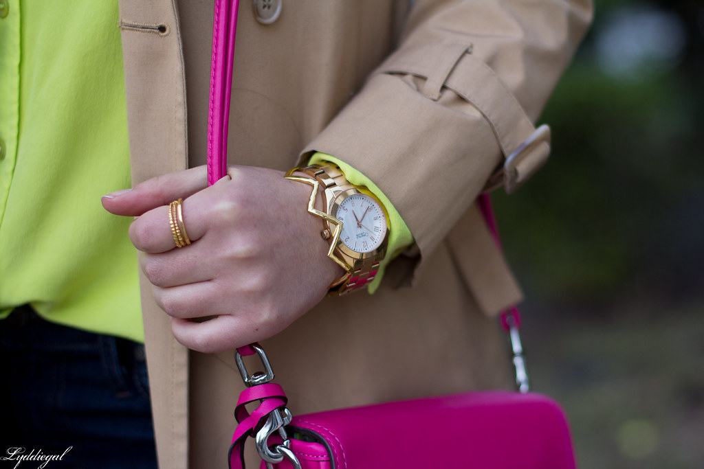 green equipment blouse, london fog trench, pink coach bag-6.jpg