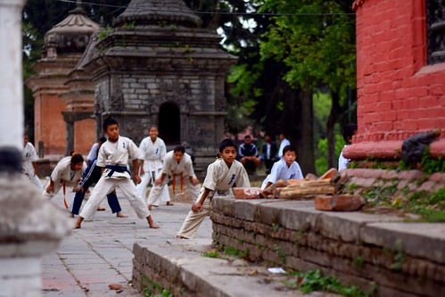 Kids training behind the temple