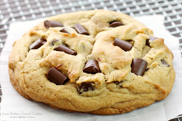 Giant Peanut Butter Cookie with Chocolate Chunks close up.