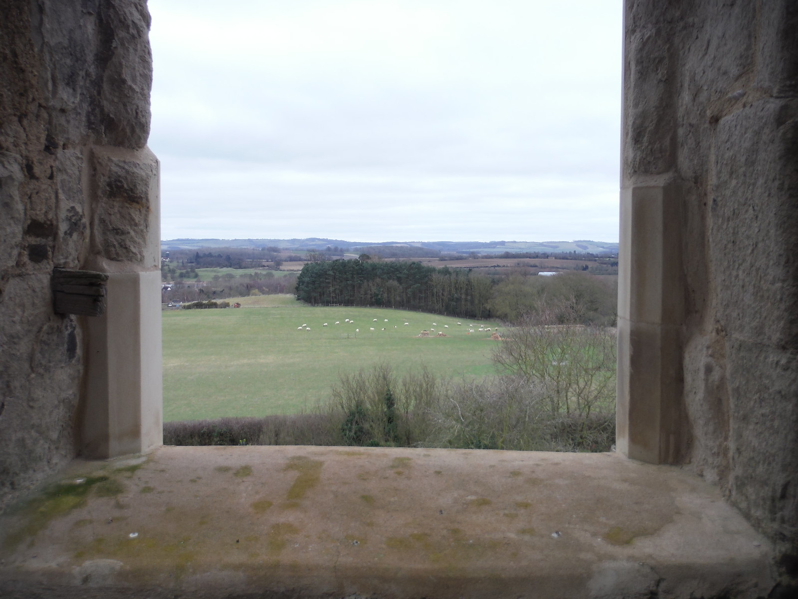 View through window of tower of Old St. Mary's Church, Clophill SWC Walk 231 Flitwick Circular