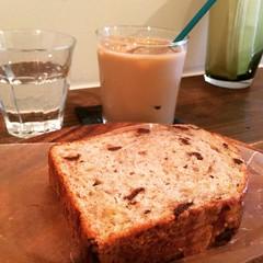 banana chocolate bread & iced café au lait❤︎  #latergram #legoûter #zizibake #osaka #tanimachi