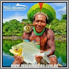 Uma das mais belas imagens que já recebi. Na foto um indigena exibindo um pacu fisgado no fly. Sensacional.  #pescaamadora #pesqueesolte #baitcast #fly #pescaesportiva #sportfishing #fishing #flyfishing #fish #bassfishing #bass #angler #anglerapproved #ba