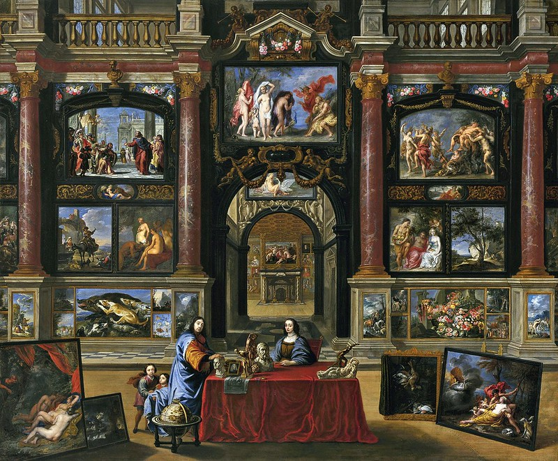 Gonzales Coques - Interior with figures before a picture collection (c.1680)