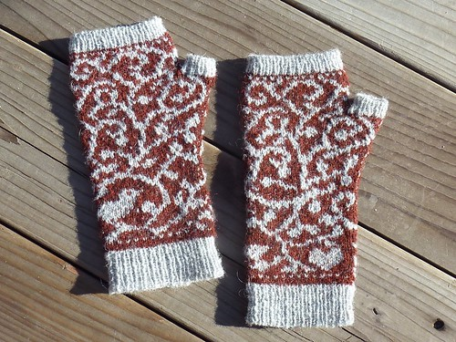 Bird and Vine Endpaper Mitts