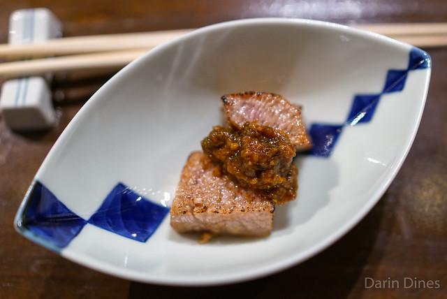seared bluefin toro shishito