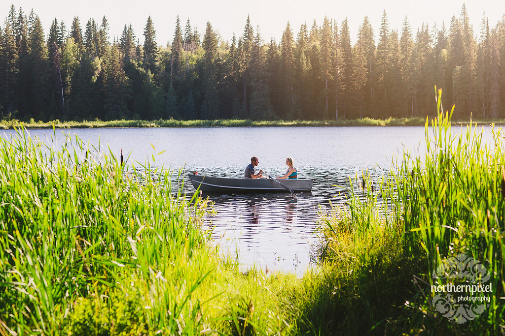 Romantic Rowboat Engagement Photography Northern British Columbia