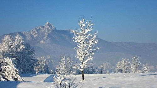 winter mountain snow field view croatia klek