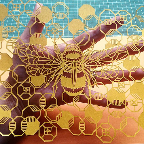 Honey Bee Paper Cutting - Pretty Paper Dreams