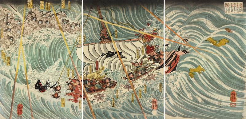 Utagawa Kuniyoshi - The Taira ghosts arising from the sea (left) to attack Yoshitsune's ship (centre), with some warriors in the water, 19th C