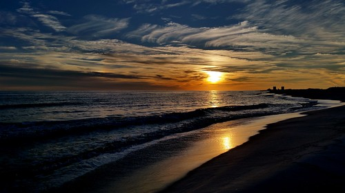 sunset beach water clouds surf waves shoreline shore cloudporn pensacola pensacolabeach saltlife skyporn galaxys5