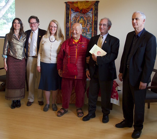 With Chögyal Namkhai Norbu Rinpoche and others at Naropa University. From melong.com