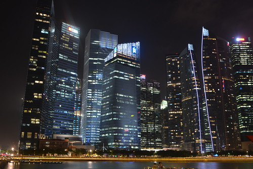 Marina Bay skyline at night 1
