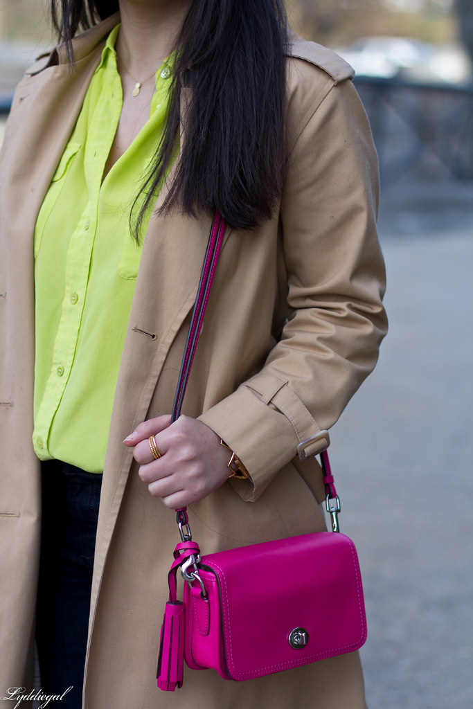 green equipment blouse, london fog trench, pink coach bag-4.jpg