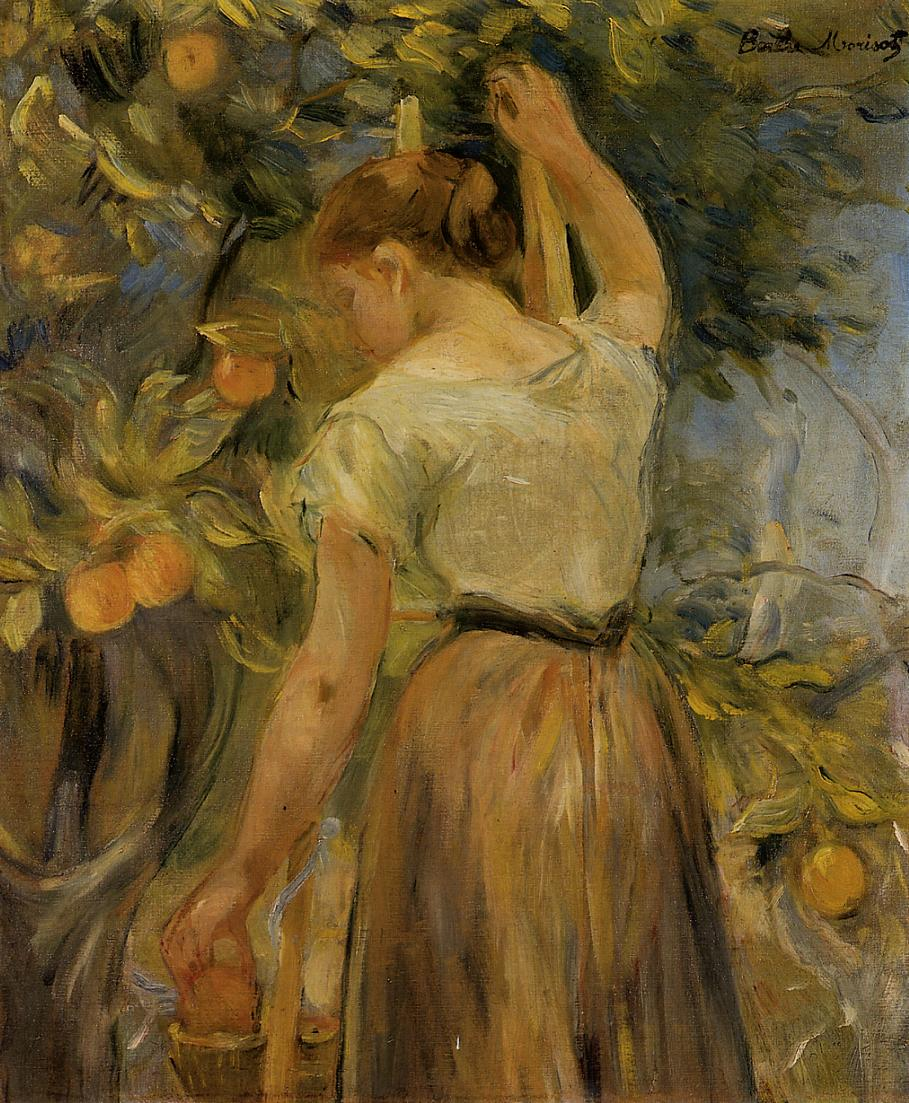Young Woman Picking Oranges by Berthe Morisot, 1889