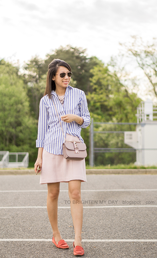 blue and white striped shirt, mixed pearl statement necklace, pink wool shift dress, nude crossbody bag, red loafers