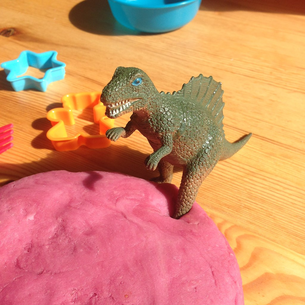 dinosaur and playdough