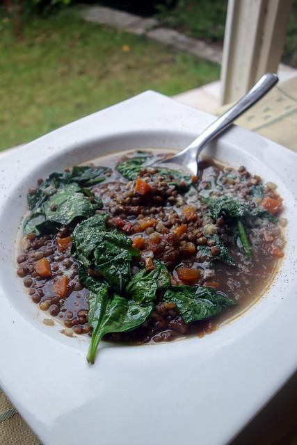 soupe de lentilles et épinards