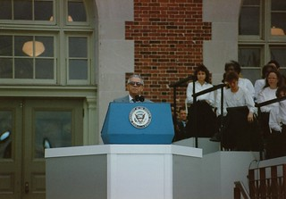 Secretary of the Interior Manuel Lujan, Jr. -- Ellis Island September 1990