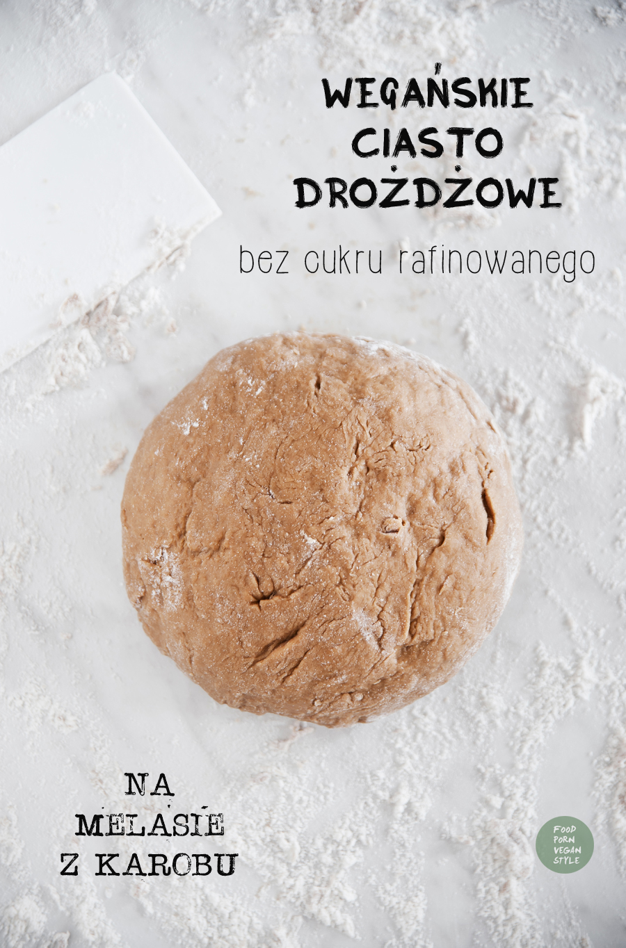 Vegan yeast dough with carob molasses (refined sugar-free)