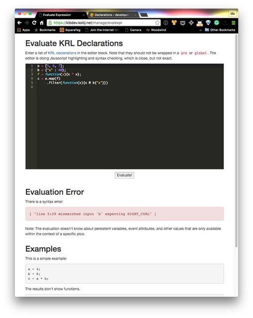 KRL Declaration evaluator with error