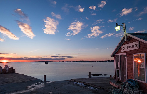 ocean sunset bay dock maine harpswell southharpswell dickslobster