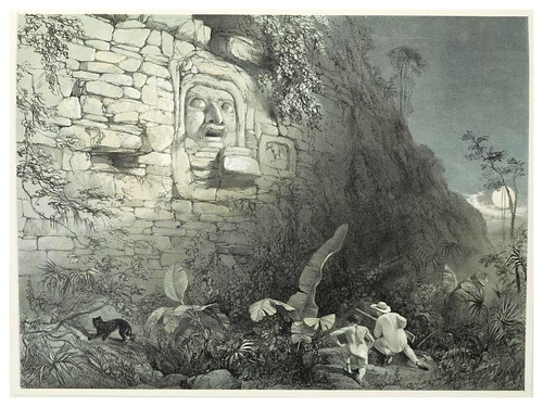 010-Cabeza esculpida en  Ixamal-Views of ancient monuments in Central America…1844- F. Catherwood