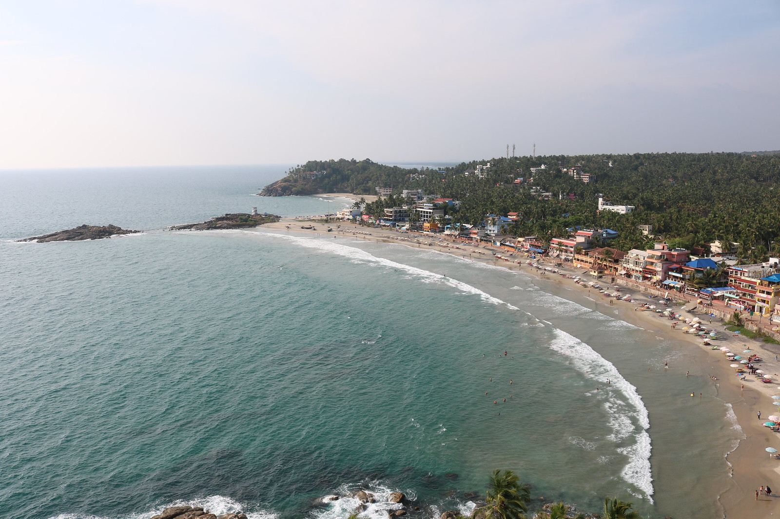View from Kovalam Lighthouse - RightSide - Lighthouse and Hawa Beach