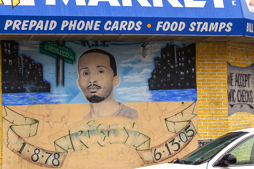 PREPAID PHONE CARDS FOOD STAMPS and memorial mural--West Philly