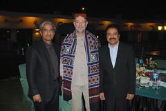 Mr. Carsten in Sindhi Cap & Ajrak with Wajid Junejo and Inamullah Naveed Khan