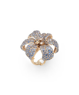 Gucci Flora ring in 18kt gold, blue sapphires and diamonds
