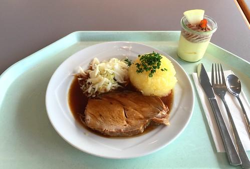 Pork roast in dark beer sauce with cole slaw & potato dumpling / Schweinebraten in Dunkelbiersauce mit Krautsalat & Kartoffelknödel