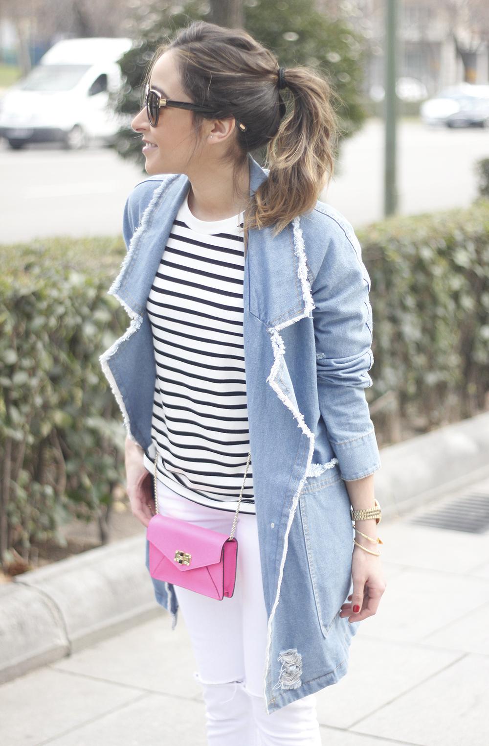 Stripes and Denim Coat Gloria Ortiz Heels Accessories Sunnies Outfit05