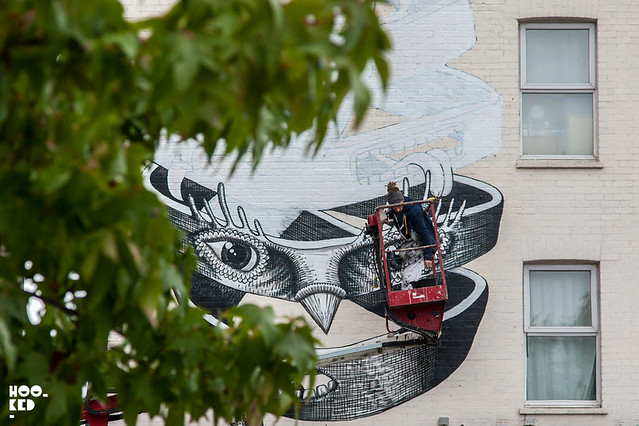 Internationally renowned street artist Phlegm mural for Dulwich Outdoor Gallery