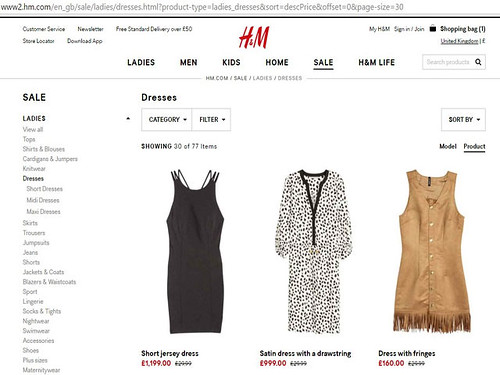 Price mistakes on H&M website