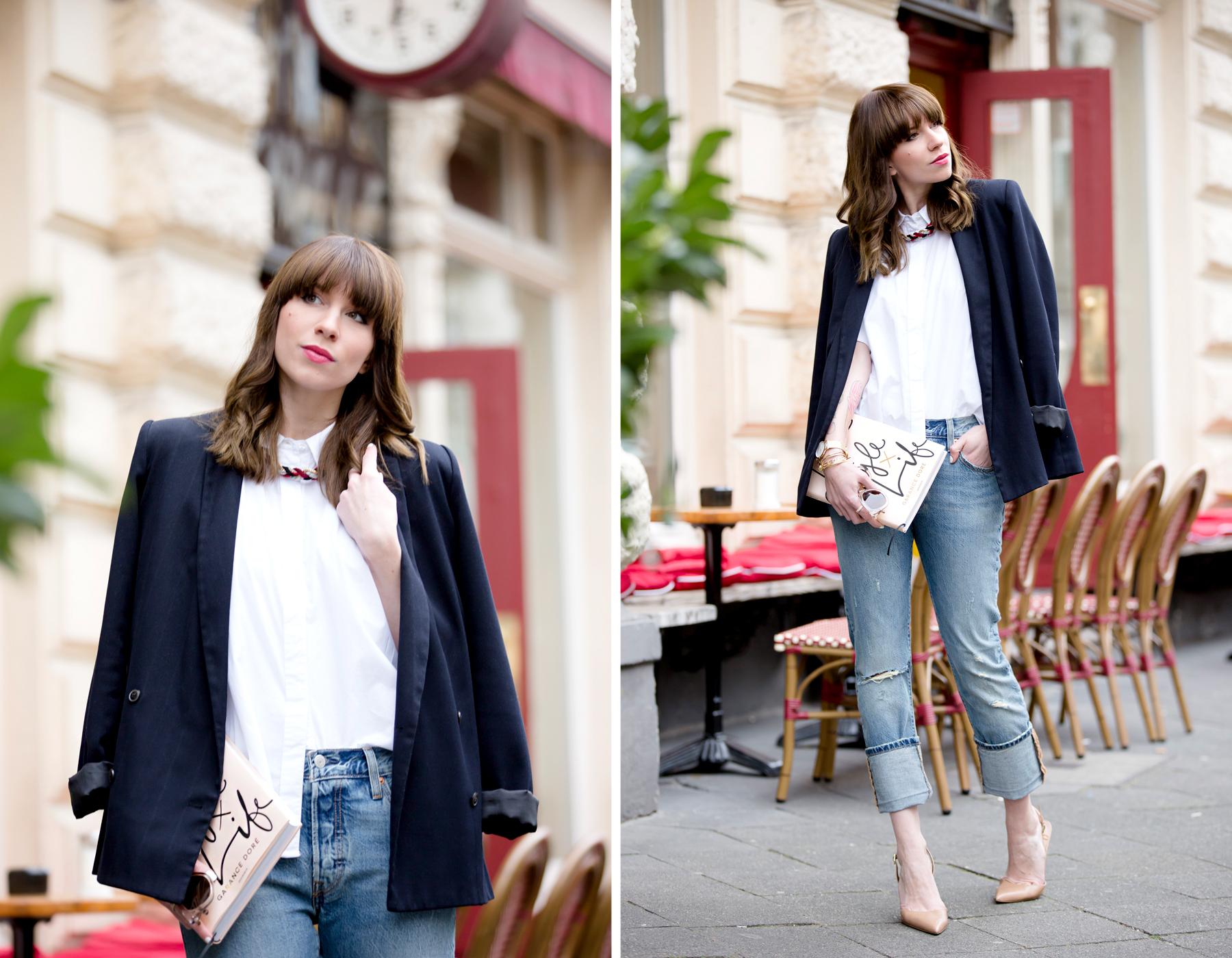 black blazer levi's 501 denim jeans nude pumps garance dore book parisienne french style blogger fashionblogger ootd outfit bangs brunette paris cute girl cats & dogs fashionblog ricarda schernus shopbop sale 5