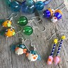 Handmade glass earrings with fine silver ear wires.  www.bahamadawn.com