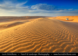 Oman - Large Sand Dunes of Wahiba Sands at the Sunset light