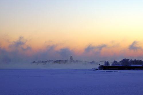 Suomenlinna island in the morning fog, Helsinki