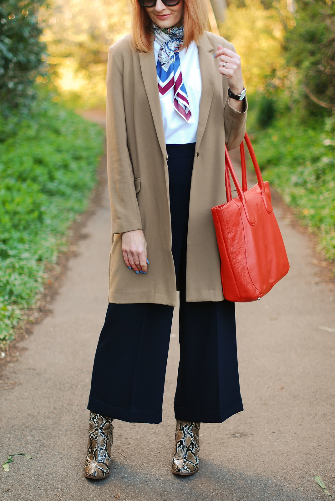 SS16 Smart style: Longline blazer with M&S Archive by Alexa culottes, neck scarf, snakeskin boots, orange tote   Not Dressed As Lamb