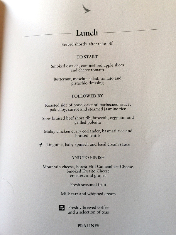 CX 748 JNB to HKG - Lunch Menu