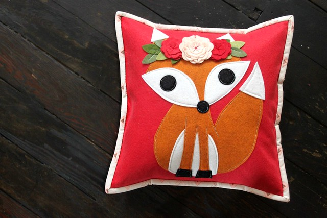 Fox Pillow in Coral Red