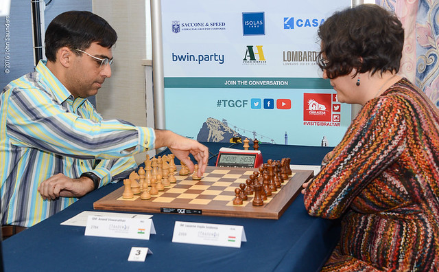 Vishy Anand makes his first move in Gibraltar 1 c4